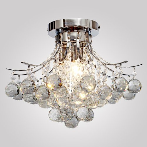 LOCOA Chrome Finish Crystal Chandelier With 3 Lights Mini Style Flush Mount Ceiling Light Fixture For Study Room Office Dining Bedroom Living