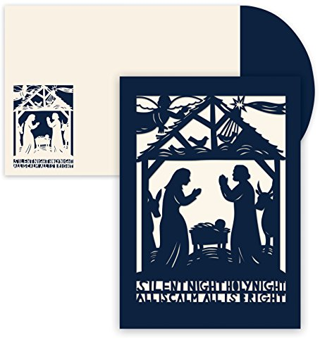 Masterpiece Holiday Collection 12-Count Laser Cut Christmas Cards, Silent Night ()