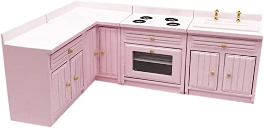1:12 Doll House Miniature Wooden Kitchen Refrigerator /& Table Chair Set Accs