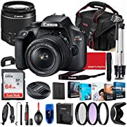 Canon EOS Rebel T100 DSLR Camera with 18-55mm Lens Bundle + Premium Accessory Bundle Including 64GB Memory, Fi