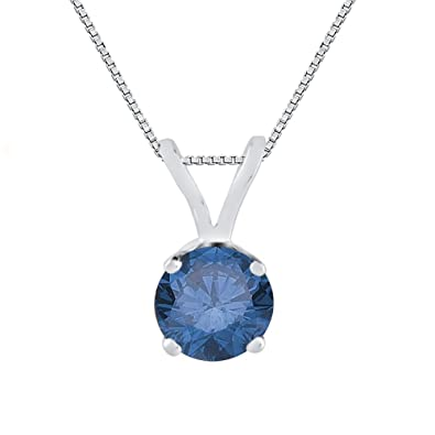 853f6ecf1 Amazon.com: KATARINA Blue Diamond Solitaire Pendant Necklace in 14K White  Gold (1/5 cttw): Jewelry