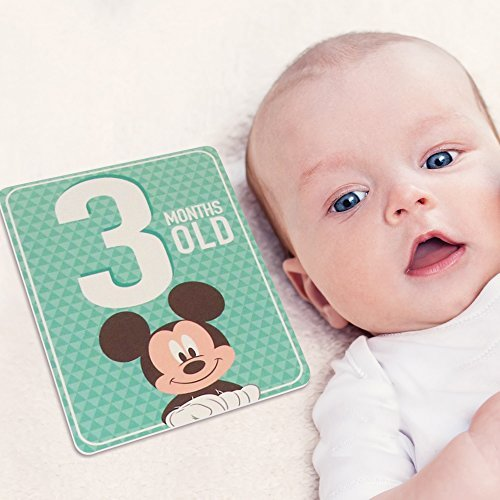 Disney Baby Boys Mickey Mouse Milestone Photo Sharing Cards, Age 0-12M, 12 Cards Gift Set ()