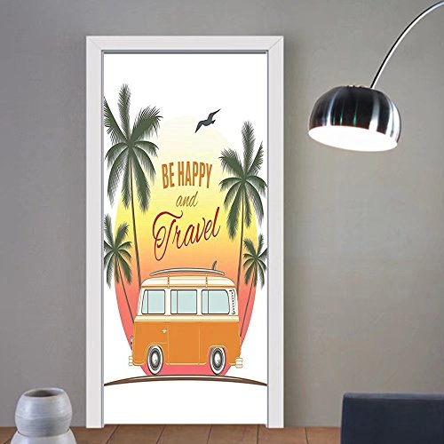 Gzhihine custom made 3d door stickers Hippie Surf Decor Retro Surf Van with Palms Camping Relax Travel Be Happy Free Sixties Theme Art Orange Green Yellow For Room Decor 30x79 by Gzhihine