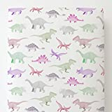 Carousel Designs Pink Watercolor Dinosaurs Toddler Bed Sheet Fitted