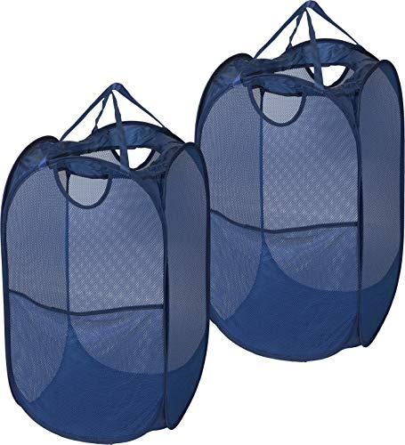 (2 Pack - SimpleHouseware Mesh Pop-Up Laundry Hamper Basket with Side Pocket, Dark Blue)
