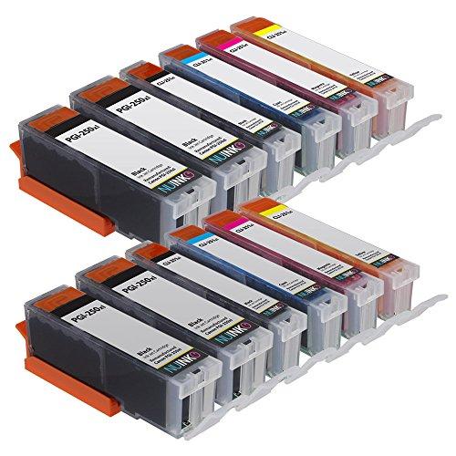 NUINKO 12 Pack Compatible Canon PGI250 PGI-250 CLI251 CLI-251 Ink Cartridge for PIXMA MG5420 PIXMA MG5450 PIXMA MG5520 PIXMA MG6320 PIXMA MG6350 PIXMA MG6420 PIXMA MG7120 PIXMA MX722 PIXMA MX725 PIXMA MX922 PIXMA MX925 PIXMA iX6820 PIXMA iX6850 PIXMA iP72