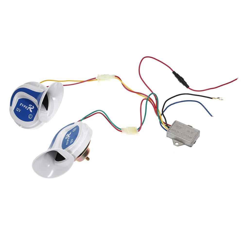 Docooler 2PCs 12V 120DB Digital Electric Loud Siren Snail Air Horn 20 Sounds Car Truck Motorcycle