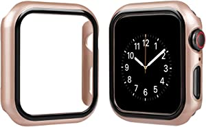 top4cus Environmental PC Slim Lightweight Electroplated Protective Iwatch Case Protector Bumper Compatible Apple Watch Series 5 Series 4 Series 3 Series 1 Series 2 (Champagne Gold, 38mm)
