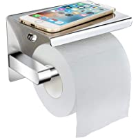 LOBKIN Toilet Paper Holder with Phone Shelf Wall Mounted, Adhesive Toilet Paper Holder with Shelf, Stainless Steel Bathroom Accessories Tissue Roll Dispenser Storage