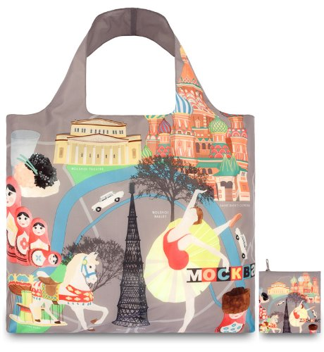 LOQI Reusable Tote Bag, Moscow Print, United States Carry-On UR.MO