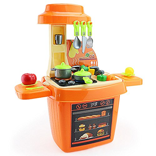 SZJJX Kids Pretend Food Play Kitchen Toys Set Role Play Plastic Portable Deluxe Simulation Kitchen Kits Playset with Working Desk Orange