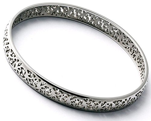 Vintage Hollow Out Polish Silver Stainless Steel Bangle Bracelets for Women Lady, Christmas Gift