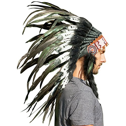 Feather Headdress- Native American Indian Inspired- Handmade Halloween Costume for Men Women with Real Feathers - DOUBLE FEATHER Black & White