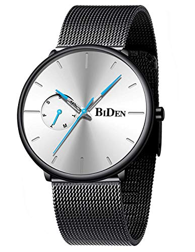 Mens Watches Minimalist Ultra Thin Waterproof Fashion Dressy Wrist Watch for Men Milanese Stainless Steel Mesh Band Day Calendar Business Dress Casual Luxury Quartz Analog Watch Black White