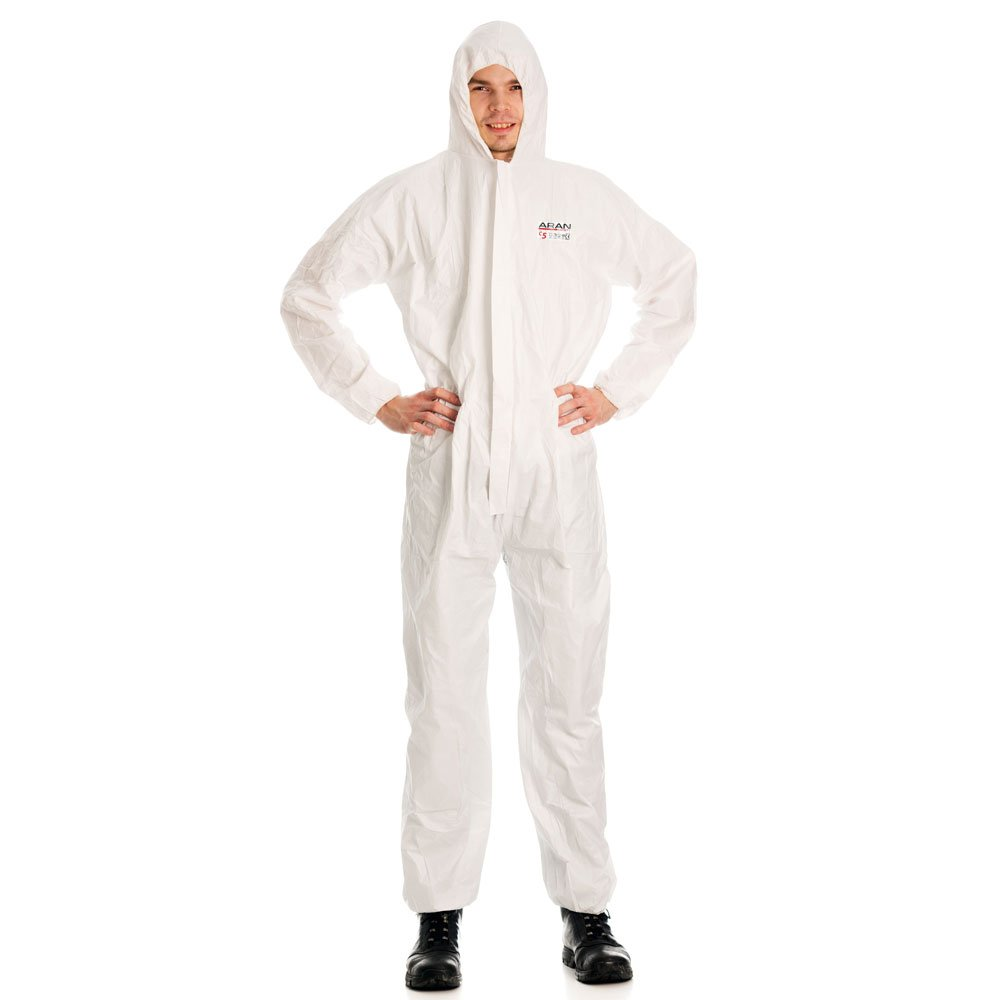 ARAN SAFETY Disposable Elastic Wrist & Hood Coverall Type 5/6 Anti-Static, White (X-Large)