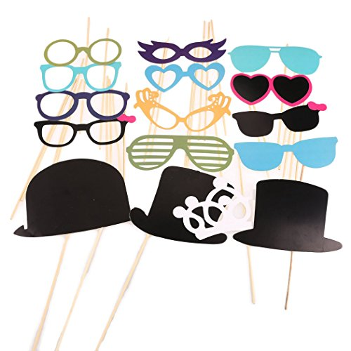44 Pcs Photo Booth Props Colorful on A Stick for Wedding Favor Christmas Birthday Party Fun Dress-up Accessories, Costumes with Mustache on a stick, Hats, Glasses, Mouth, Bowler, Bowties[US