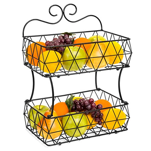 Best Choice Products 2 Tier Removable Metal Fruit Basket Stand Wire Bread Fruit Storage Rack (Black)