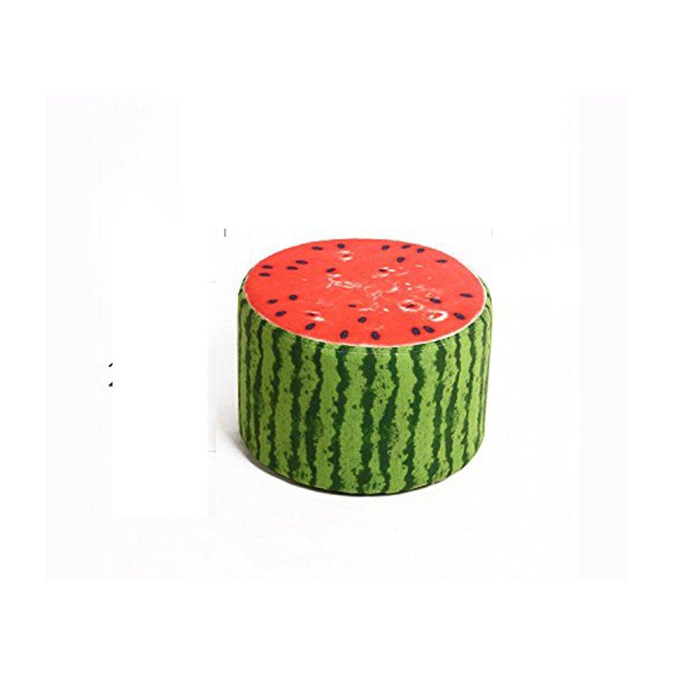 Corldif Round Ottoman Foot Stool/Linen Fabric Cover, Short Leg,Children Size(watermelon)
