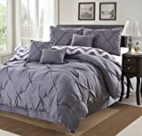 7 Piece Modern Pinch Pleated Comforter Set (Queen, Grey)