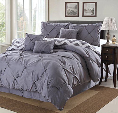 7 Piece Modern Pinch Pleated Comforter Set (King, Grey)