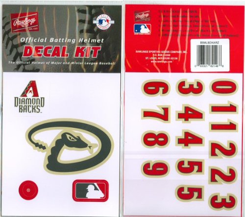 Arizona Diamondbacks MLB Batting Helmet Decal Kit (Includes Official Team Logos Stickers, MLB Logo & Numbers for Youth Little League Players to Adult Recreation Players