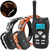 Vanleng Dog Training Collar 2 Dogs with Remote 1800ft [Reflective Strap] Waterproof Rechargeable Beep/Vibration/Electric Shock Modes for Small Medium Large Dogs (for Two Dogs)
