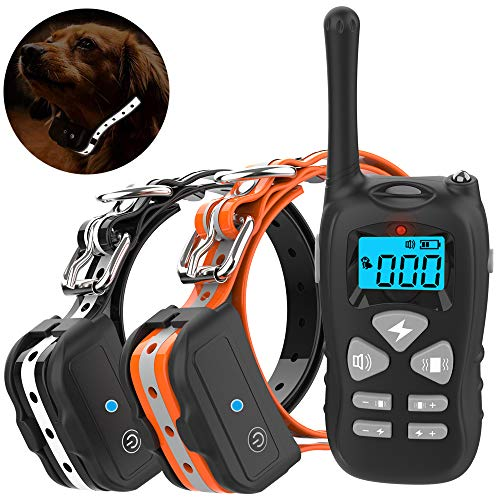 Vanleng Dog Training Collar 2 Dogs with Remote 1800ft [Reflective Strap] Waterproof Rechargeable Beep/Vibration/Electric Shock Modes for Small Medium Large Dogs (for 2 Dogs)