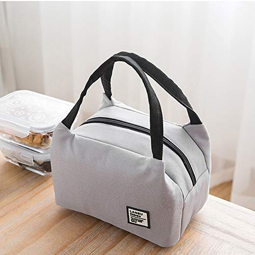 Nesee Lunch Bags,Insulated Cold Canvas Stripe Picnic Carry Case Thermal Portable Lunch Bag for Women Kids (White)