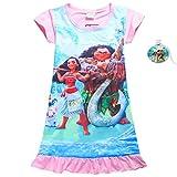 SZAMZ Moana Girls Summer Comfy Loose Dress Pajamas 4-10Y (Pink,130/8-9Y)