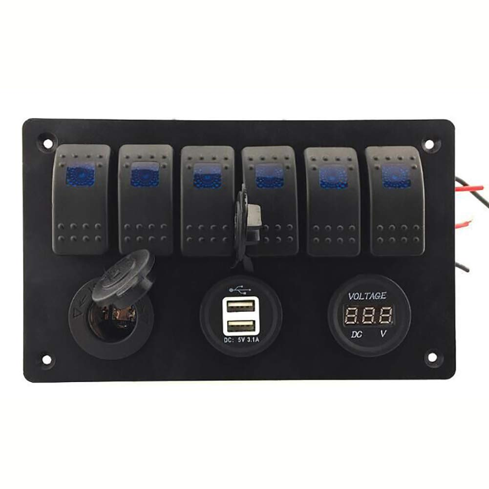 Black HsgbvictS Switch Panel External Modified Switch 6 Way Rocker Switch Control Panel Car Marine Boat Circuit Breaker Voltmeter