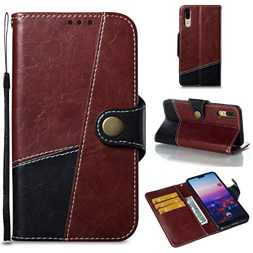 Huawei P20 Case Mixed Color Stitchinng Style PU Leather Magnetic Front Buckle Wallet Case with Card Slots for Huawei P20 (Color : Wine)