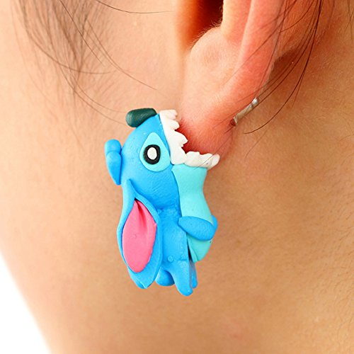 LLNF 1 Pair Polymer Clay Animal Plant Stud Earrings 3D Cat Pig Sunflower Drop Earrings For Women Girls