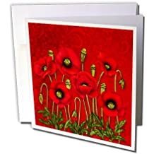 Bright Red Poppy Garden with Bokeh Swirl Background - Greeting Cards, 6 x 6 inches, set of 12 (gc_214563_2)