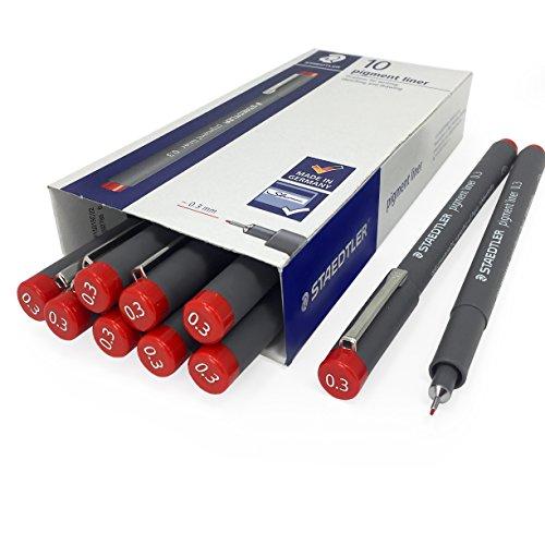 Staedtler 308 Pigment Liner Fineliner – 0.3mm – Pack of 10 – Red by Staedtler - OMG (Image #3)