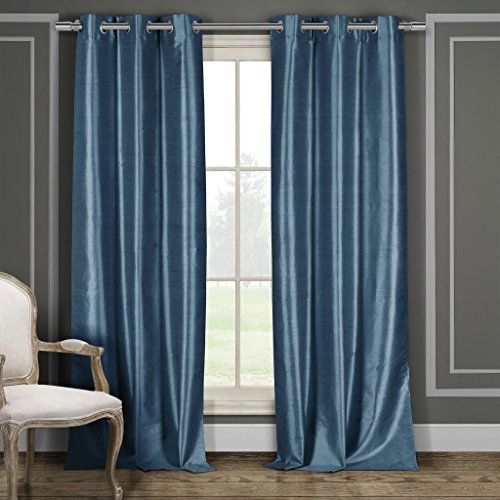Plaid Drapes Silk (Faux Silk Grommet Top Window Curtain Pair Panel Drapes For Bedroom, Livingroom, Kids, Children, Nursery - Assorted Colors - 38 by 84 Inches, Set of 2 Panels - Blue)