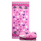 Microfiber Beach Bath Travel Towel-Soo Angelers(2018 Lightweight and Quick Dry for Travel Pool Yoga Sports Large Size Gift for Kids&Adult (Pink Butterfly)