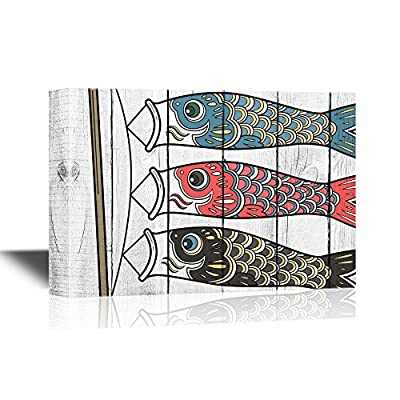 Japanese Culture Canvas Wall Art - Traditional Japanese Koinobori The Carp Flags - Gallery Wrap Modern Home Art | Ready to Hang - 12x18 inches