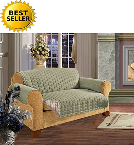 #1 Best Seller Reversible Furniture Protector! Elegance Linen® Luxury Slipcover/Furniture Protector Great for Pets & Children with STRAPS TO PREVENT SLIPPING OFF, Loveseat, Sage/Cream (Slipcovers For Pets)