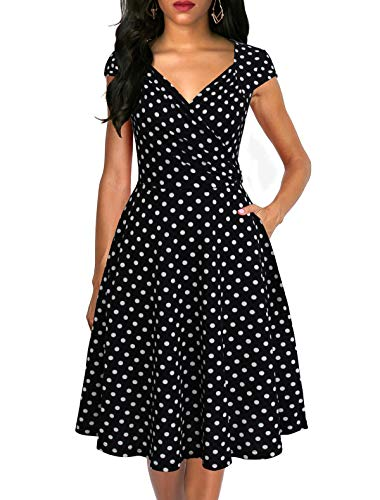 - Lyrur Women's Sexy V-Neck Wrapped Chest Polka Dot Fit and Flare Casual Swing Cocktail Dresses of Wedding Guest(L, 9074-Black Dot)