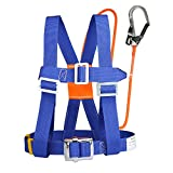 XINDA Safety Harness Fall Protection - Half Body Rock Climbing Harness for Women, Fall Arrest Harness Lanyard with Small Steel Carabiner or Big Snap Hook, Fall-Arrest-Safety-Harness (半身蓝色大钩)