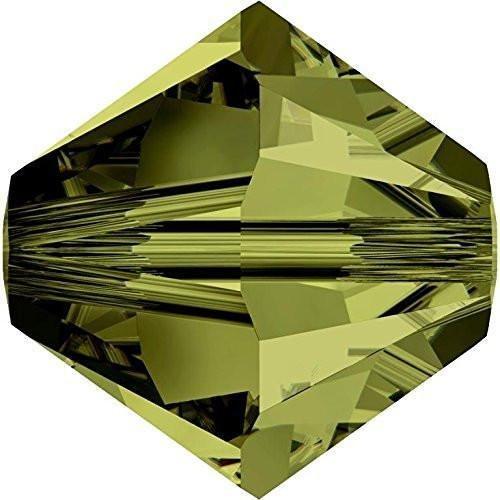 Olivine Swarovski Crystal Bicone Bead - 5328 Swarovski Crystal Bicone Beads Olivine | 3mm - Pack of 50 | Small & Wholesale Packs