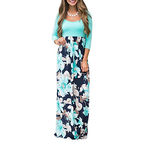 YUMDO Women's Contrast Long Sleeve Tank Top Floral Print Maxi Dress Green M