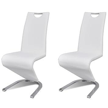 vidaXL 2X Sillas de Comedor Moderna Voladizas Forma de U Piel Sintética Blanca