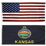 Cheap US Flag with Kansas State Flag 3 x 5 – 100% American Made – Nylon