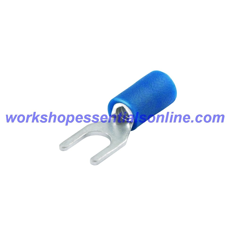 WEO Fork Crimp Terminals Blue 1.5-2.5mm² 4.3 Hole Diameter. Pack of 10