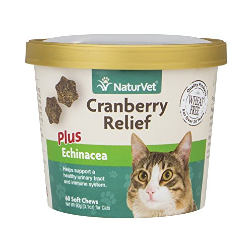 NaturVet Cranberry Relief Plus Echinacea for Cats, 60 ct Soft Chews, Made in - Support Naturvet Urinary