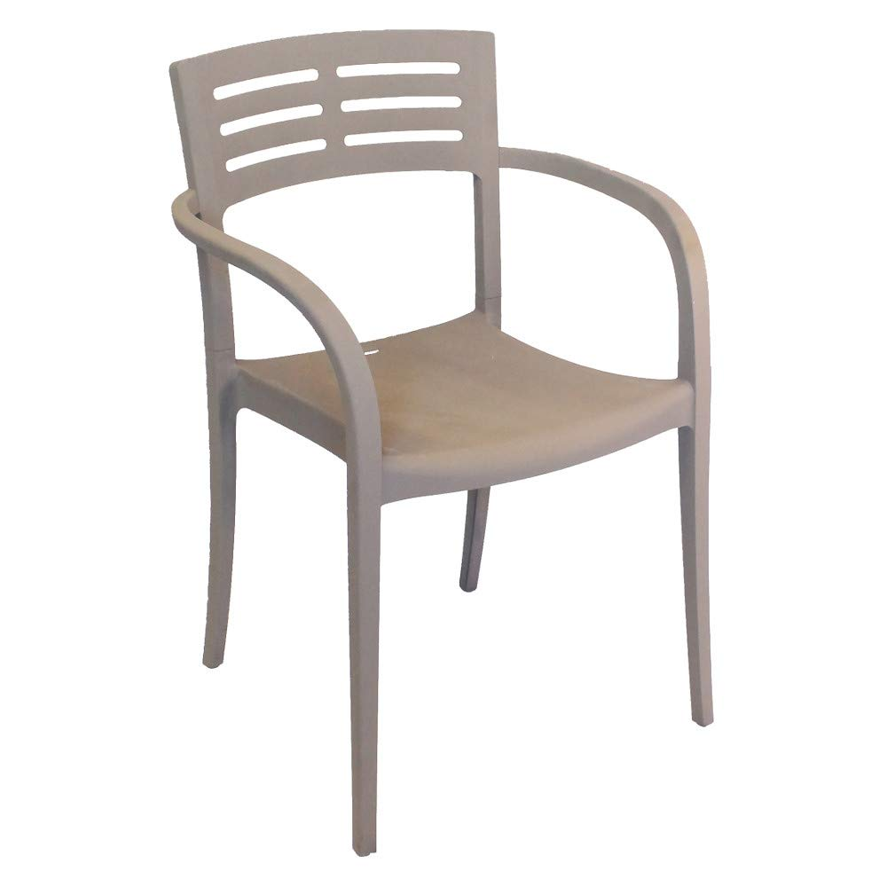 Grosfillex US336181 Vogue Stacking Armchair, French Taupe Color (Case of 4)