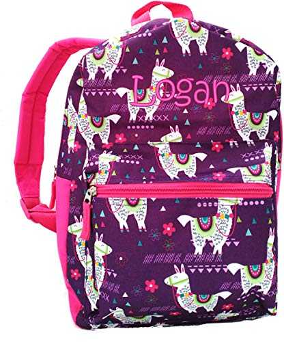 Kids Embroidered Backpacks (Monogrammed Me Personalized Children's Backpack, Purple Llamas, with Embroidered)