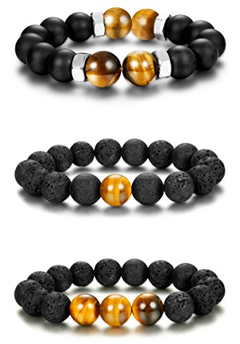 Udalyn 3PCS 12mm Tiger Eye Beaded Bracelets Lava Rock Bracelets Yoga Energy Bracelet Elastic