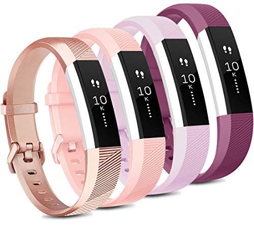 Tobfit 4 Pack Bands Compatible with Fitbit Alta/Alta HR Bands, Soft Sport Silicone Replacement Wristbands for Women Men (Small, Rose Gold/Pink/Lavender/Fuchsia)